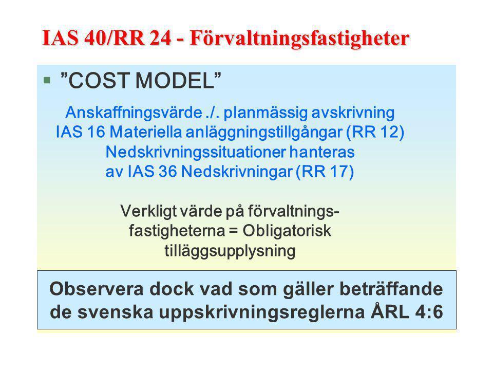 """IAS 40/RR 24 - Förvaltningsfastigheter §""""COST MODEL"""" Anskaffningsvärde./. planmässig avskrivning IAS 16 Materiella anläggningstillgångar (RR 12) Nedsk"""
