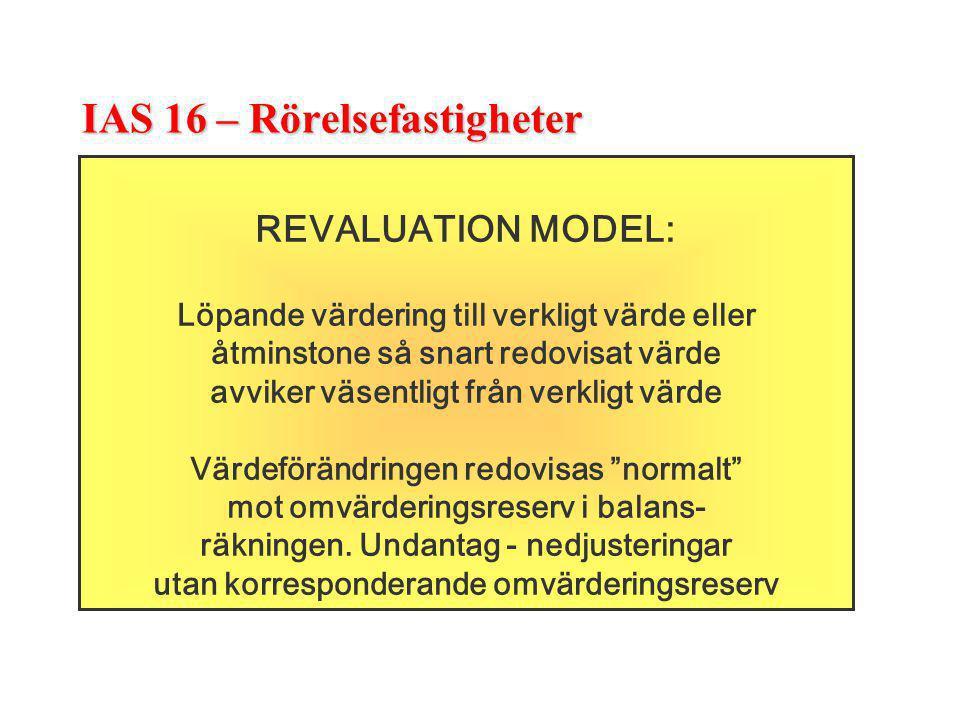 IAS 16 – Rörelsefastigheter REVALUATION MODEL: Löpande värdering till verkligt värde eller åtminstone så snart redovisat värde avviker väsentligt från