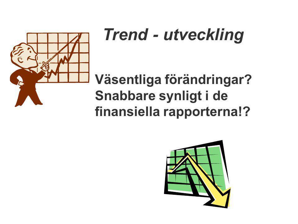 Trend - utveckling Väsentliga förändringar? Snabbare synligt i de finansiella rapporterna!?