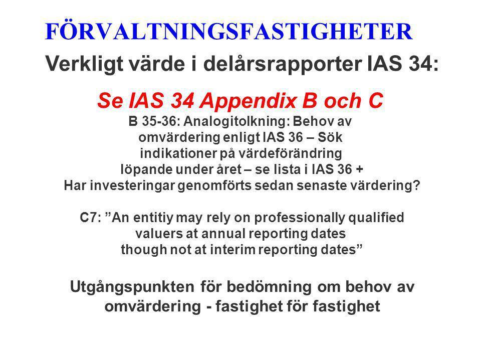 FÖRVALTNINGSFASTIGHETER Verkligt värde i delårsrapporter IAS 34: Se IAS 34 Appendix B och C B 35-36: Analogitolkning: Behov av omvärdering enligt IAS