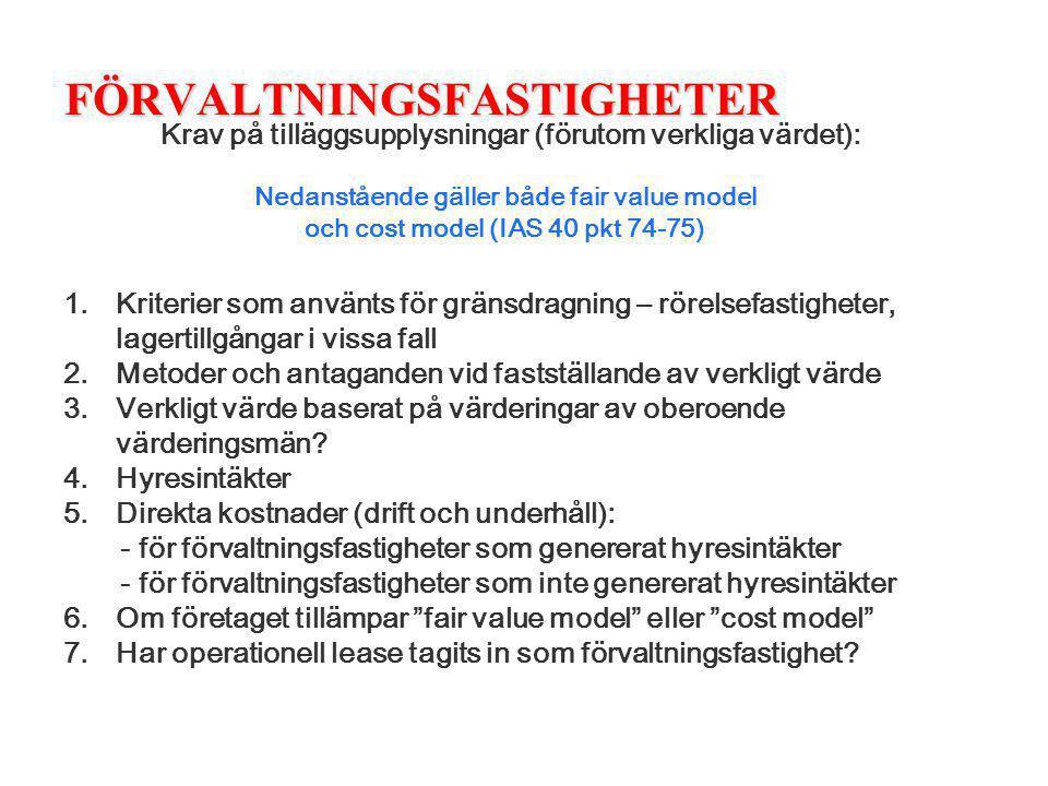 FÖRVALTNINGSFASTIGHETER Krav på tilläggsupplysningar (förutom verkliga värdet): 1.Kriterier som använts för gränsdragning – rörelsefastigheter, lagert
