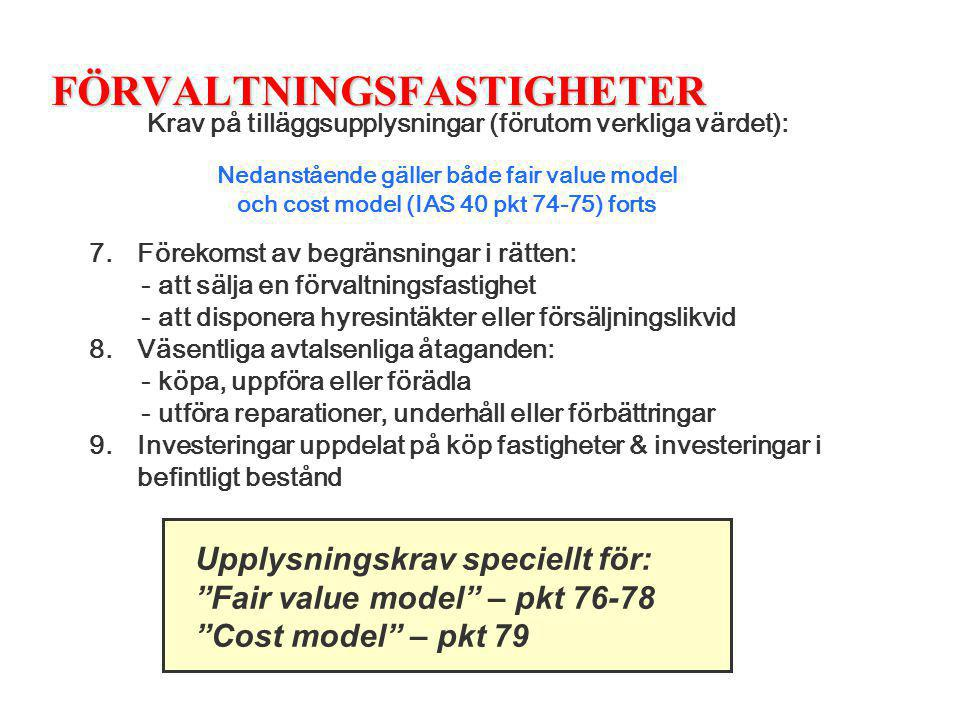 FÖRVALTNINGSFASTIGHETER Krav på tilläggsupplysningar (förutom verkliga värdet): 7. Förekomst av begränsningar i rätten: - att sälja en förvaltningsfas