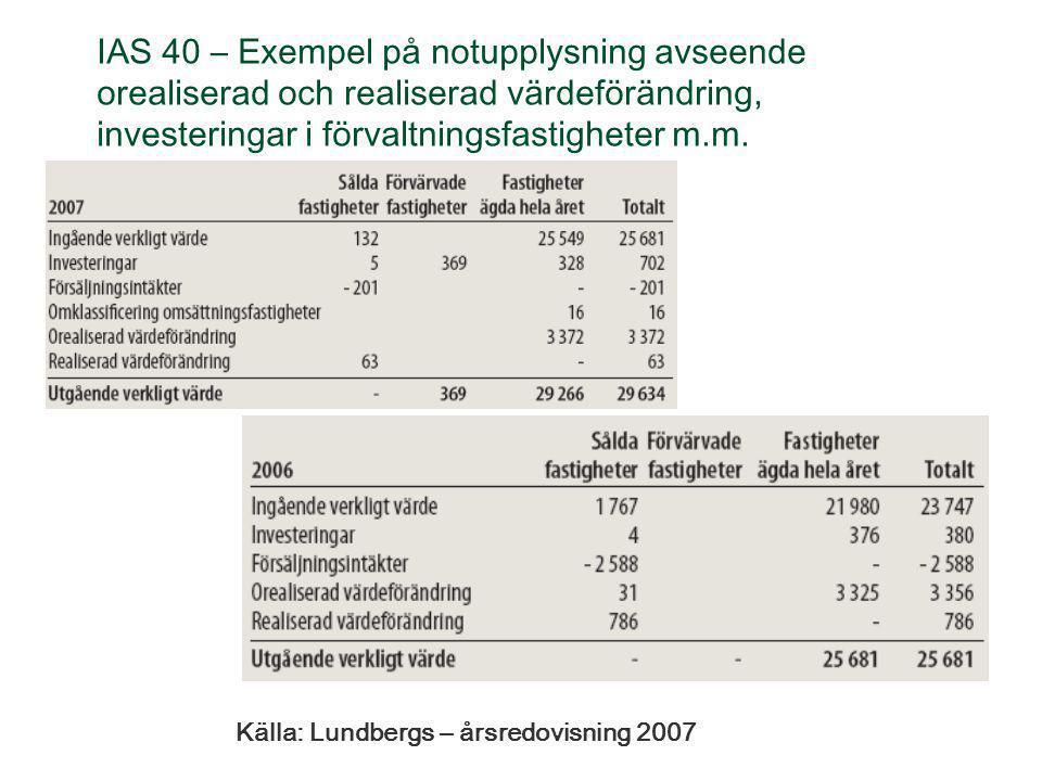 IAS 40 – Exempel på notupplysning avseende orealiserad och realiserad värdeförändring, investeringar i förvaltningsfastigheter m.m. Källa: Lundbergs –