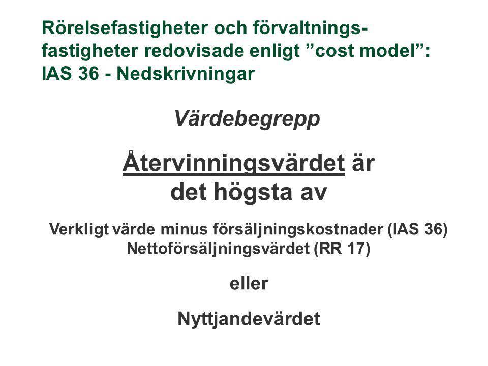 """Rörelsefastigheter och förvaltnings- fastigheter redovisade enligt """"cost model"""": IAS 36 - Nedskrivningar Värdebegrepp Återvinningsvärdet är det högsta"""