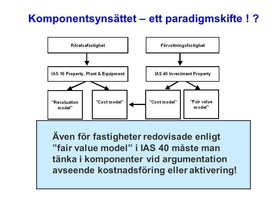 """Komponentsynsättet – ett paradigmskifte ! ? Även för fastigheter redovisade enligt """"fair value model"""" i IAS 40 måste man tänka i komponenter vid argum"""