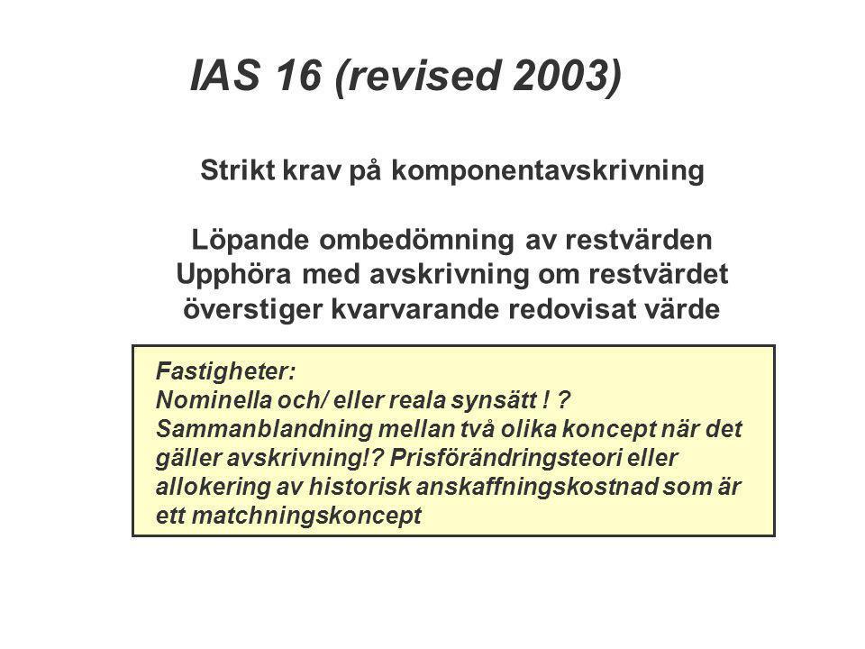 IAS 16 (revised 2003) Strikt krav på komponentavskrivning Löpande ombedömning av restvärden Upphöra med avskrivning om restvärdet överstiger kvarvaran