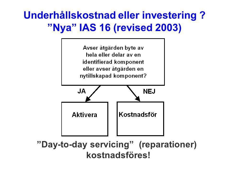 """""""Day-to-day servicing"""" (reparationer) kostnadsföres! Underhållskostnad eller investering ? """"Nya"""" IAS 16 (revised 2003)"""