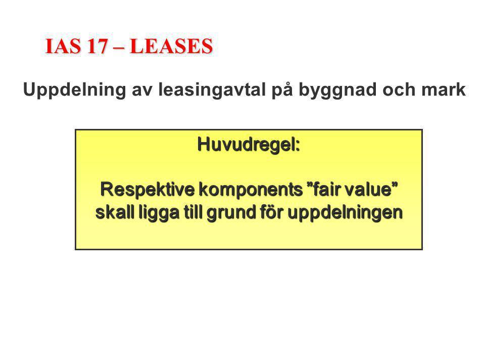 """IAS 17 – LEASES Uppdelning av leasingavtal på byggnad och mark Huvudregel: Respektive komponents """"fair value"""" skall ligga till grund för uppdelningen"""
