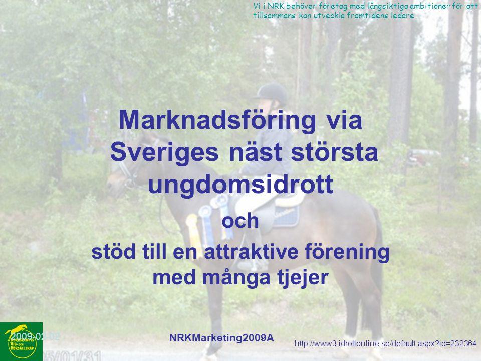 http://www3.idrottonline.se/default.aspx?id=232364 Vi i NRK behöver företag med långsiktiga ambitioner för att vi tillsammans kan utveckla framtidens ledare 2009-02-02 NRKMarketing2009A 2 NRK fakta och mål(1) Startades 1989 och är ansluten till Ridsportförbundet ~150 medlemmar varav 50% under 20 år.