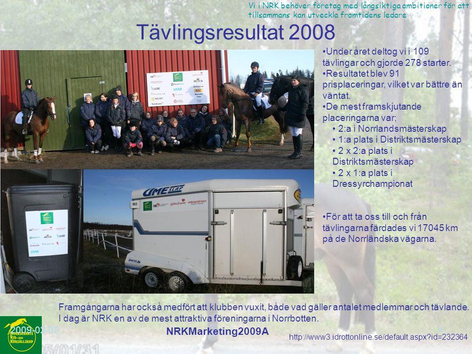 http://www3.idrottonline.se/default.aspx?id=232364 Vi i NRK behöver företag med långsiktiga ambitioner för att vi tillsammans kan utveckla framtidens ledare 2009-02-02 NRKMarketing2009A 4 Tävlingsresultat 2008 Under året deltog vi i 109 tävlingar och gjorde 278 starter.
