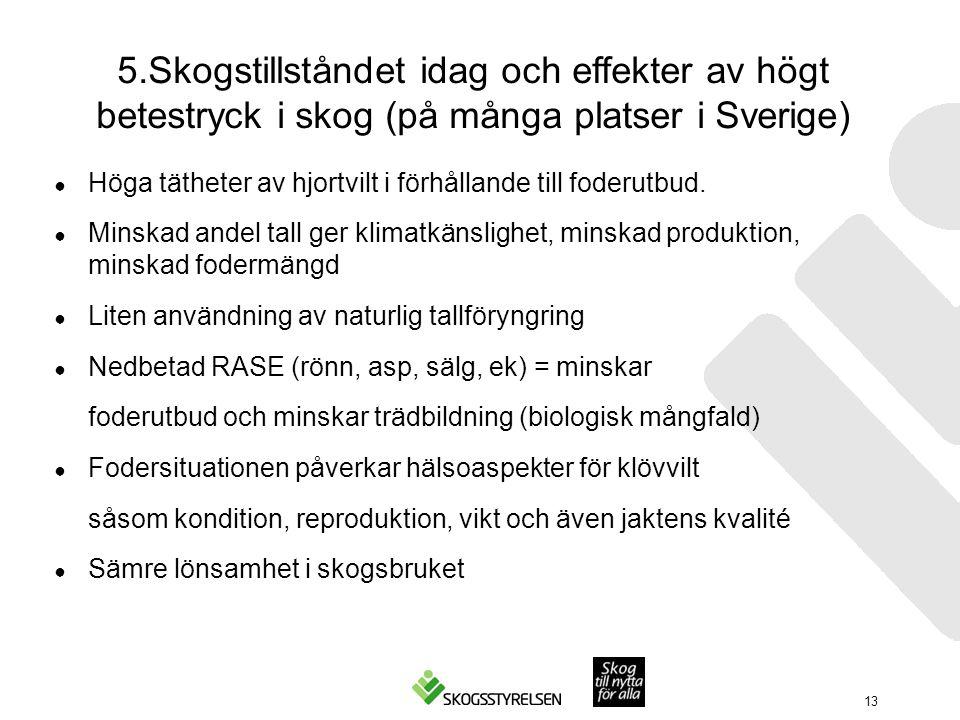 5.Skogstillståndet idag och effekter av högt betestryck i skog (på många platser i Sverige) ● Höga tätheter av hjortvilt i förhållande till foderutbud.
