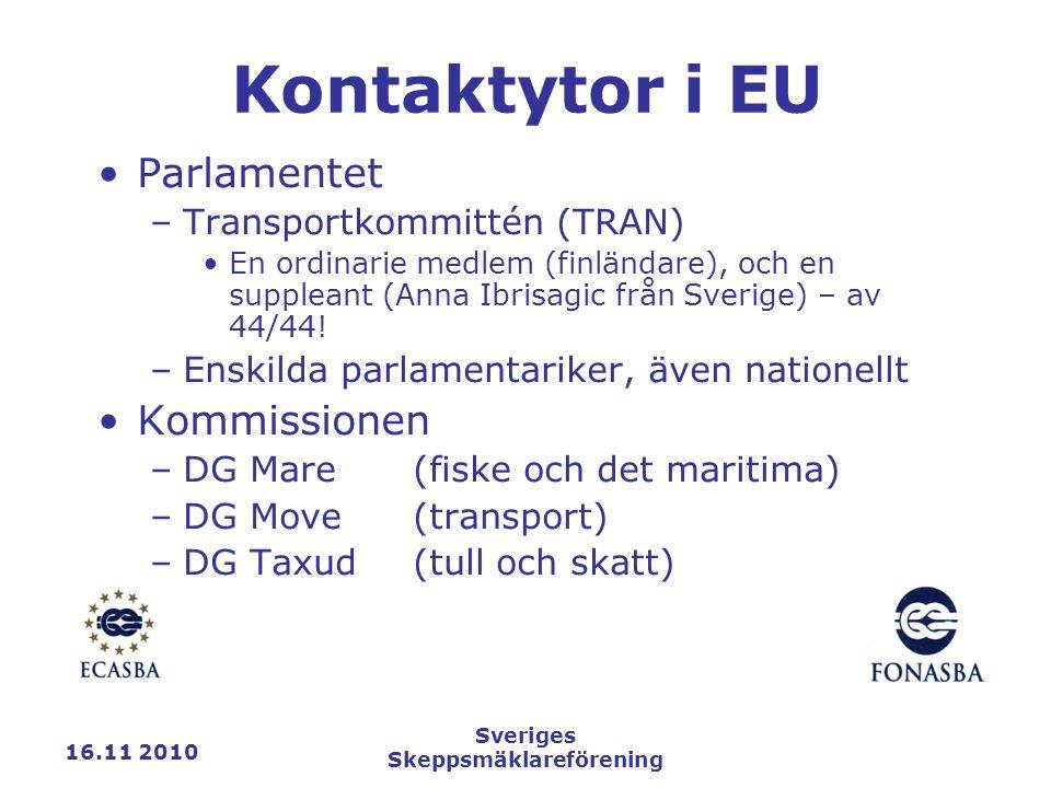 16.11 2010 Sveriges Skeppsmäklareförening Kontaktytor i EU Parlamentet –Transportkommittén (TRAN) En ordinarie medlem (finländare), och en suppleant (Anna Ibrisagic från Sverige) – av 44/44.