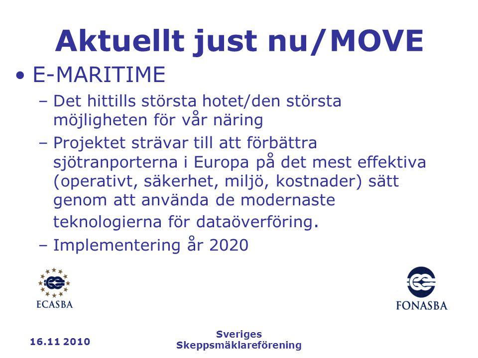 16.11 2010 Sveriges Skeppsmäklareförening Aktuellt just nu/MOVE E-MARITIME –Det hittills största hotet/den största möjligheten för vår näring –Projektet strävar till att förbättra sjötranporterna i Europa på det mest effektiva (operativt, säkerhet, miljö, kostnader) sätt genom att använda de modernaste teknologierna för dataöverföring.