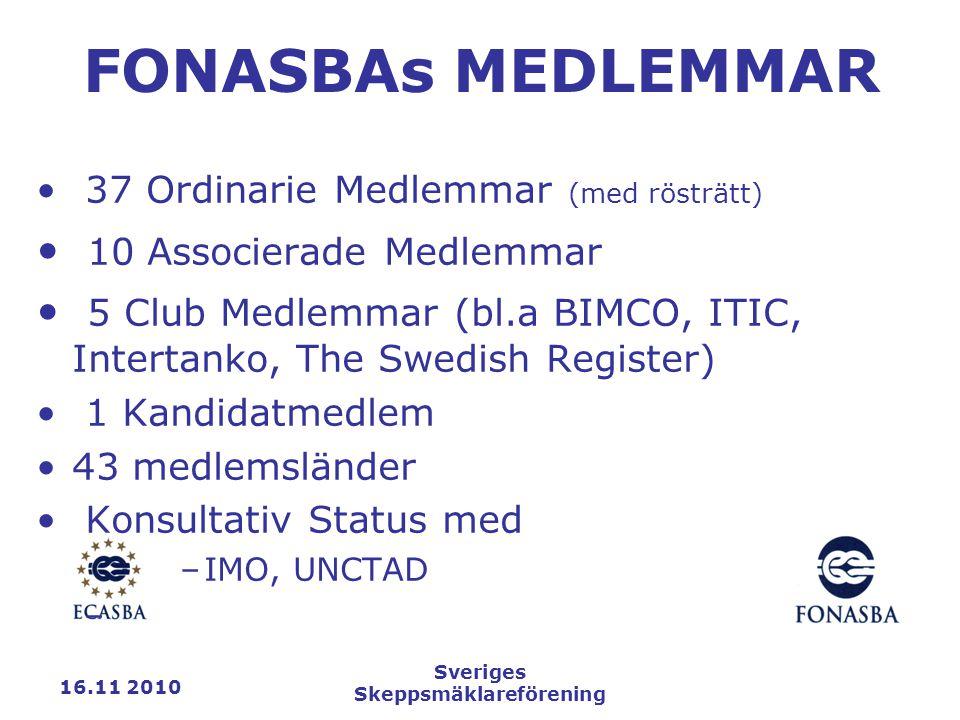 16.11 2010 Sveriges Skeppsmäklareförening FONASBAs MEDLEMMAR 37 Ordinarie Medlemmar (med rösträtt) 10 Associerade Medlemmar 5 Club Medlemmar (bl.a BIMCO, ITIC, Intertanko, The Swedish Register) 1 Kandidatmedlem 43 medlemsländer Konsultativ Status med –IMO, UNCTAD –