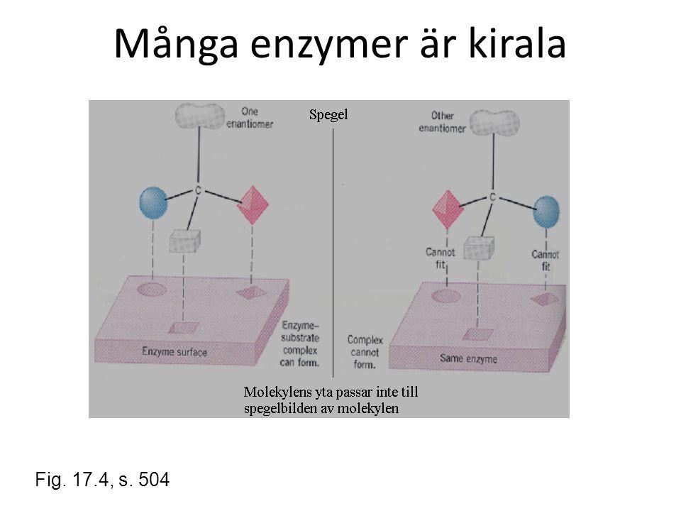Många enzymer är kirala Fig. 17.4, s. 504