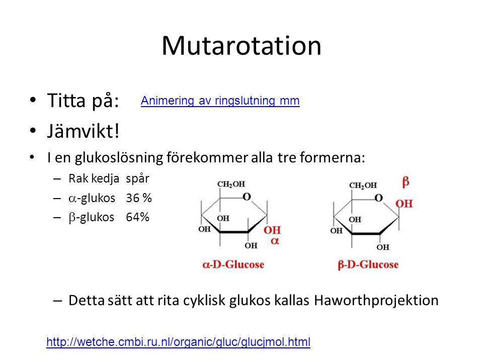 Mutarotation Titta på: Jämvikt! I en glukoslösning förekommer alla tre formerna: – Rak kedjaspår –  -glukos36 % –  -glukos64% – Detta sätt att rita