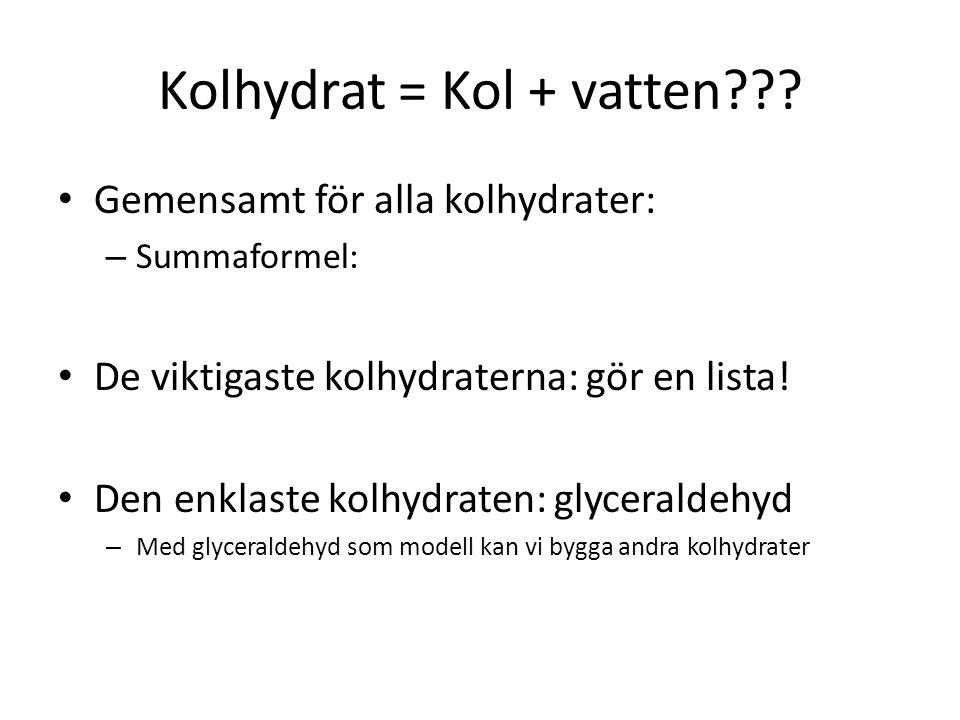 Kolhydrat = Kol + vatten??? Gemensamt för alla kolhydrater: – Summaformel: De viktigaste kolhydraterna: gör en lista! Den enklaste kolhydraten: glycer