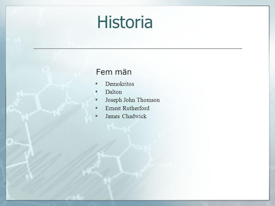 Fem män  Demokritos  Dalton  Joseph John Thomson  Ernest Rutherford  James Chadwick Historia