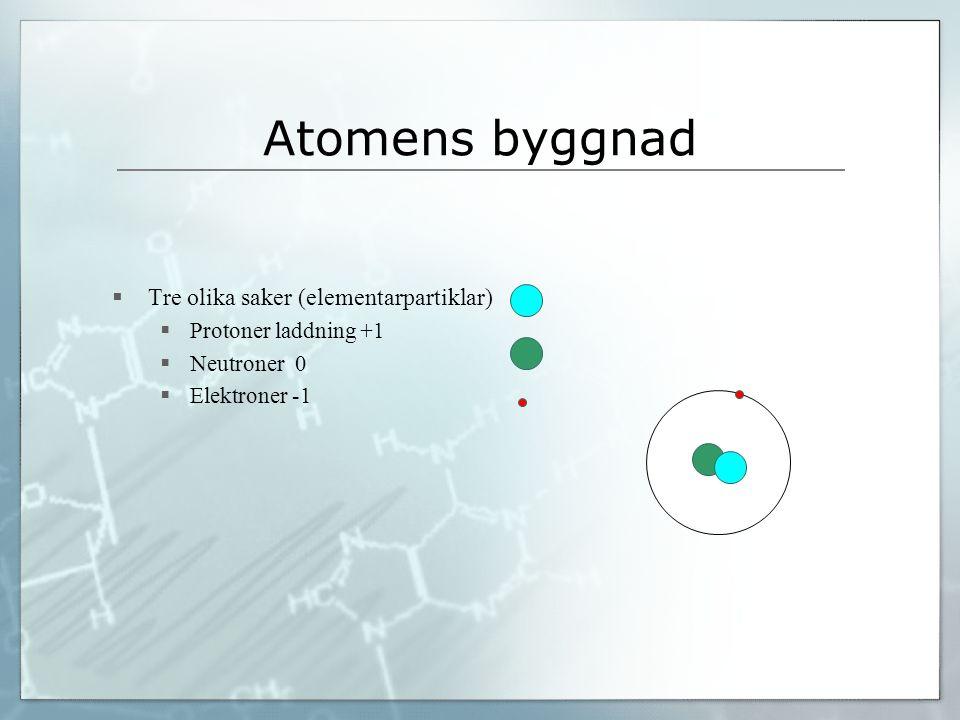 Atomens byggnad  Tre olika saker (elementarpartiklar)  Protoner laddning +1  Neutroner 0  Elektroner -1