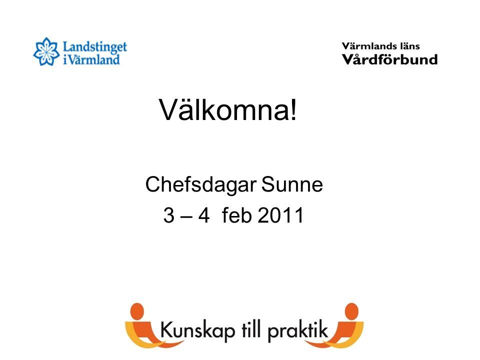 Välkomna! Chefsdagar Sunne 3 – 4 feb 2011