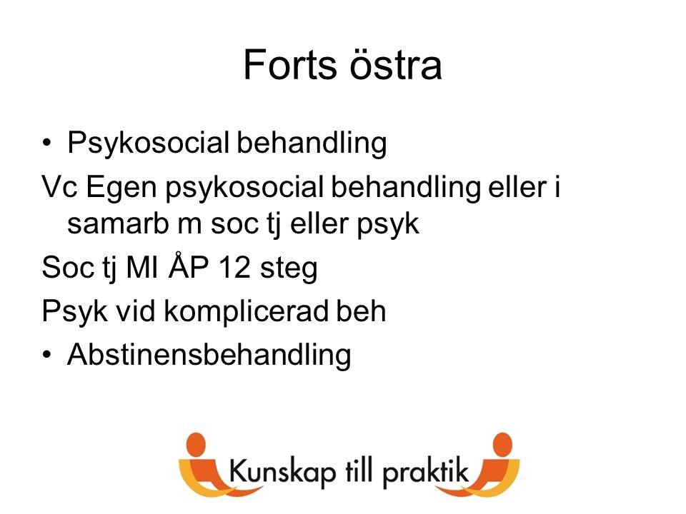 Forts östra Psykosocial behandling Vc Egen psykosocial behandling eller i samarb m soc tj eller psyk Soc tj MI ÅP 12 steg Psyk vid komplicerad beh Abs