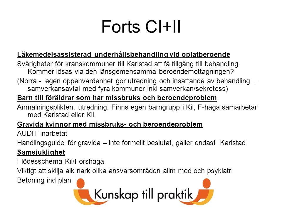 Forts CI+II Läkemedelsassisterad underhållsbehandling vid opiatberoende Svårigheter för kranskommuner till Karlstad att få tillgång till behandling. K