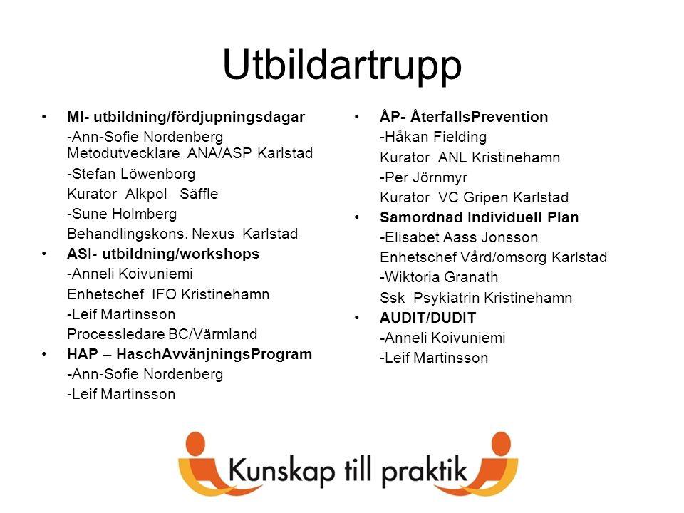 Utbildartrupp MI- utbildning/fördjupningsdagar -Ann-Sofie Nordenberg Metodutvecklare ANA/ASP Karlstad -Stefan Löwenborg Kurator Alkpol Säffle -Sune Ho