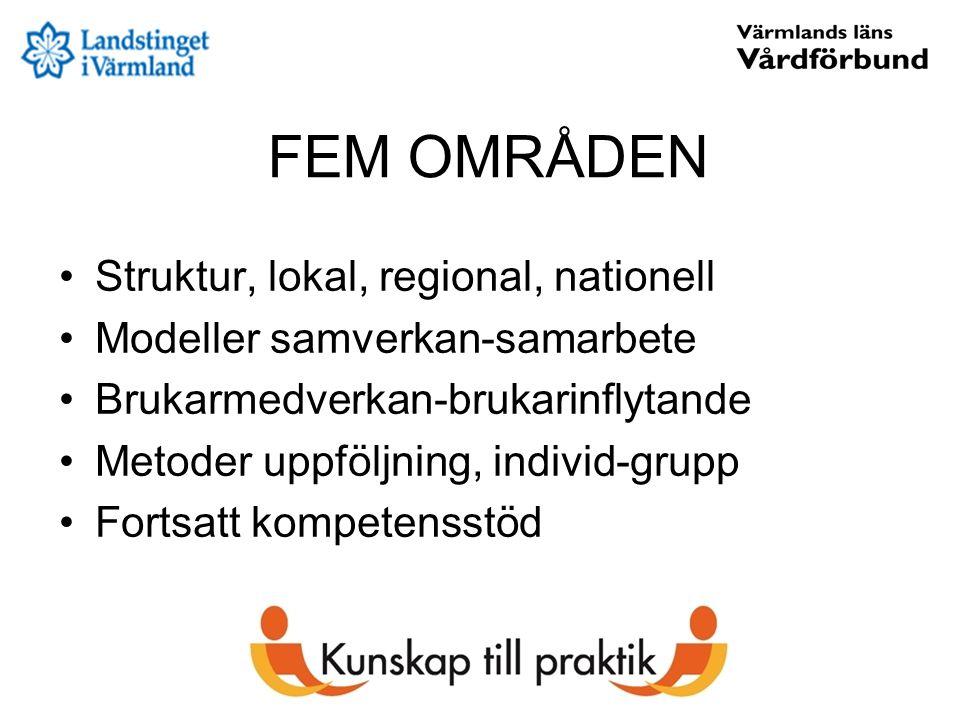 FEM OMRÅDEN Struktur, lokal, regional, nationell Modeller samverkan-samarbete Brukarmedverkan-brukarinflytande Metoder uppföljning, individ-grupp Fort