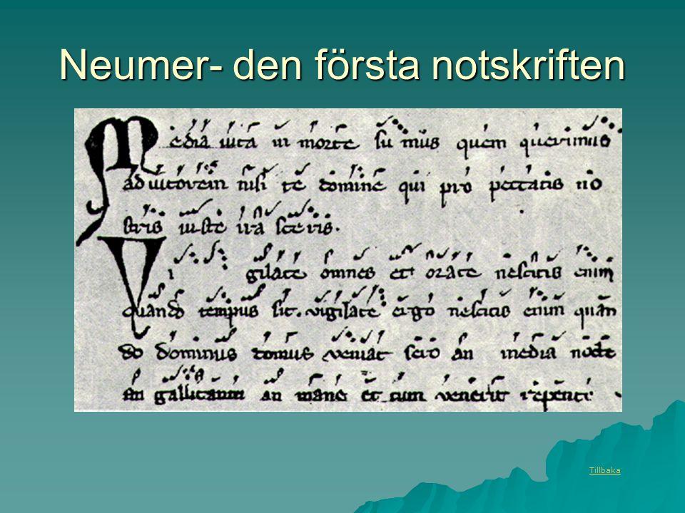 Neumer- den första notskriften Tillbaka