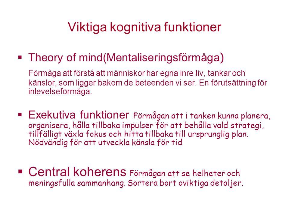 Viktiga kognitiva funktioner  Theory of mind(Mentaliseringsförmåga ) Förmåga att förstå att människor har egna inre liv, tankar och känslor, som ligg