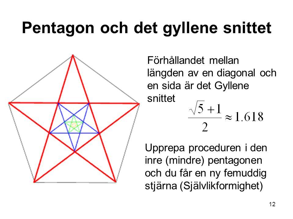 12 Pentagon och det gyllene snittet Förhållandet mellan längden av en diagonal och en sida är det Gyllene snittet Upprepa proceduren i den inre (mindre) pentagonen och du får en ny femuddig stjärna (Självlikformighet)