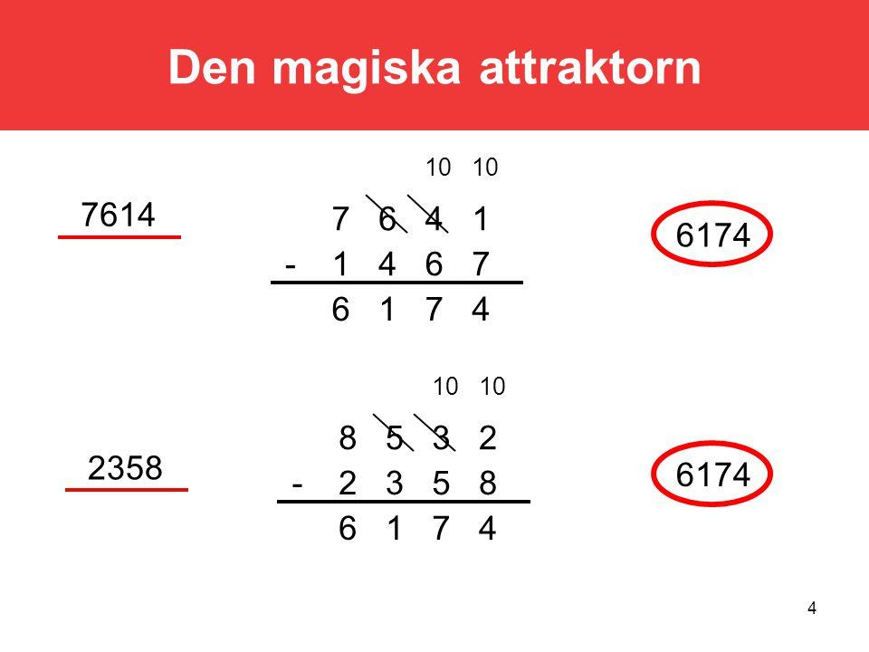 4 Den magiska attraktorn 4716 7641- 1467 10 4716 8532- 2358 7614 6174 2358 6174