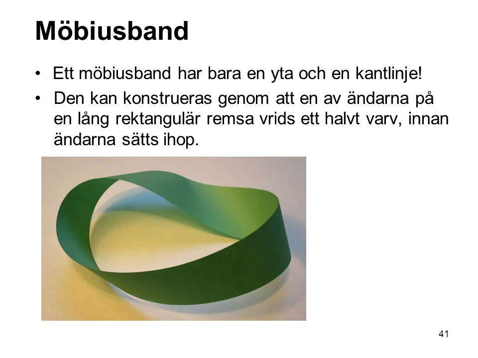 41 Möbiusband Ett möbiusband har bara en yta och en kantlinje.