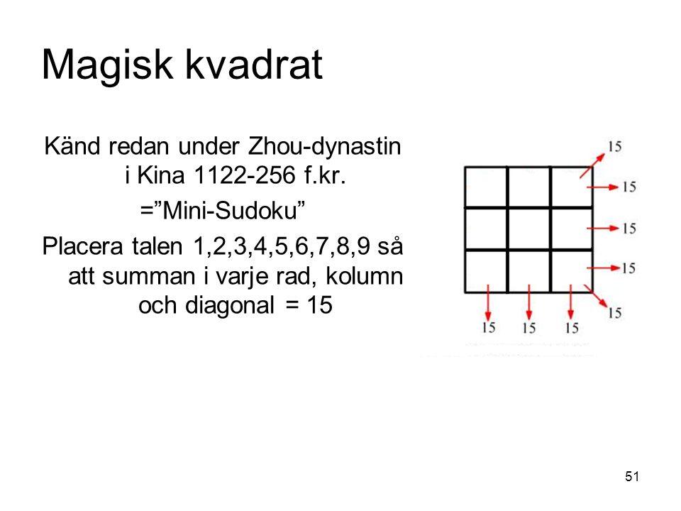 51 Magisk kvadrat Känd redan under Zhou-dynastin i Kina 1122-256 f.kr.
