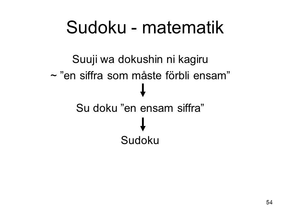 54 Sudoku - matematik Suuji wa dokushin ni kagiru ~ en siffra som måste förbli ensam Su doku en ensam siffra Sudoku