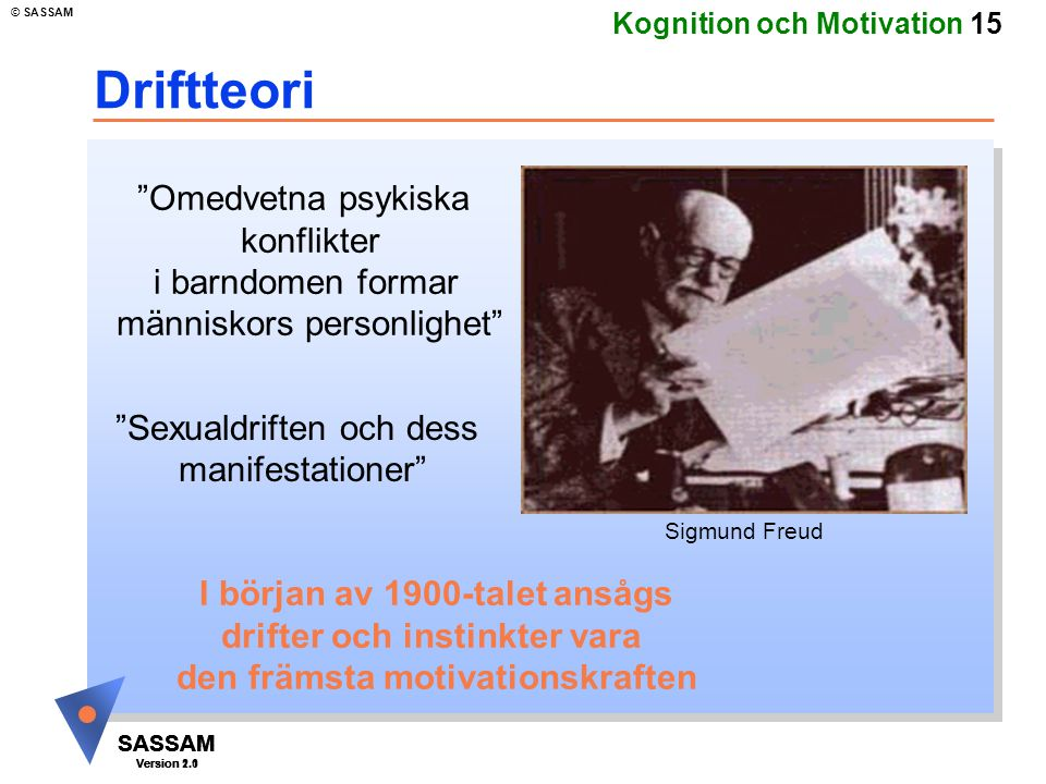 "SASSAM Version 1.1 © SASSAM SASSAM Version 1.1 SASSAM Version 2.0 Kognition och Motivation 15 Driftteori ""Omedvetna psykiska konflikter i barndomen fo"