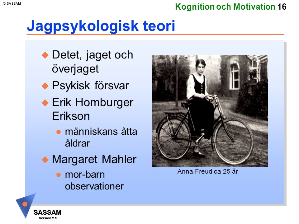 SASSAM Version 1.1 © SASSAM SASSAM Version 1.1 SASSAM Version 2.0 Kognition och Motivation 16 Jagpsykologisk teori u Detet, jaget och överjaget u Psyk