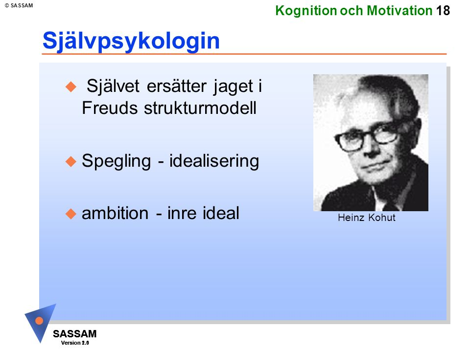 SASSAM Version 1.1 © SASSAM SASSAM Version 1.1 SASSAM Version 2.0 Kognition och Motivation 18 Självpsykologin u Självet ersätter jaget i Freuds strukt