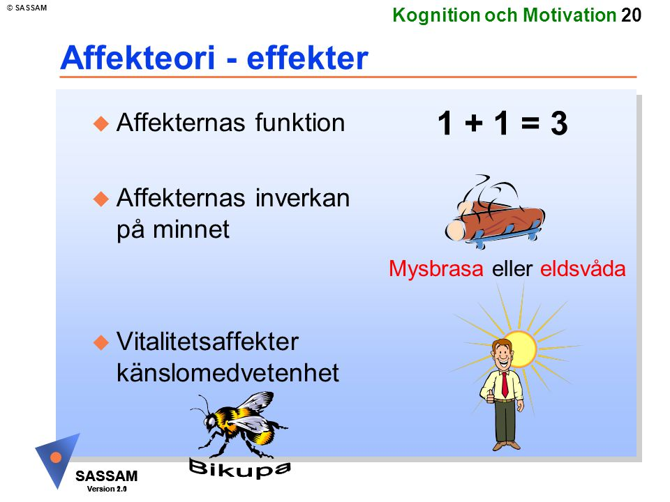 SASSAM Version 1.1 © SASSAM SASSAM Version 1.1 SASSAM Version 2.0 Kognition och Motivation 20 Affekteori - effekter u Affekternas funktion u Affektern