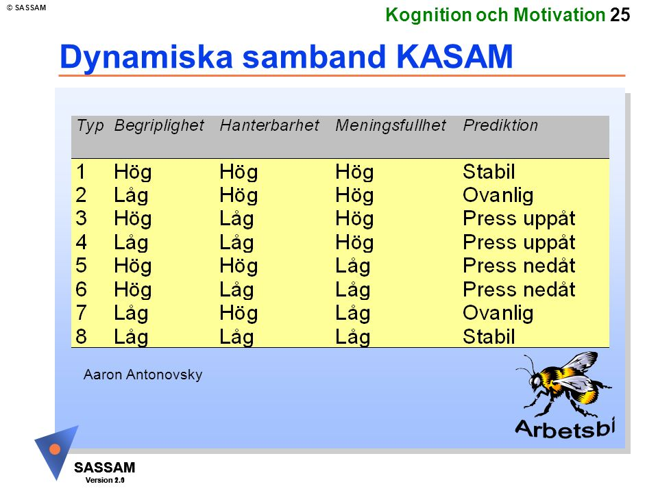 SASSAM Version 1.1 © SASSAM SASSAM Version 1.1 SASSAM Version 2.0 Kognition och Motivation 25 Dynamiska samband KASAM Aaron Antonovsky