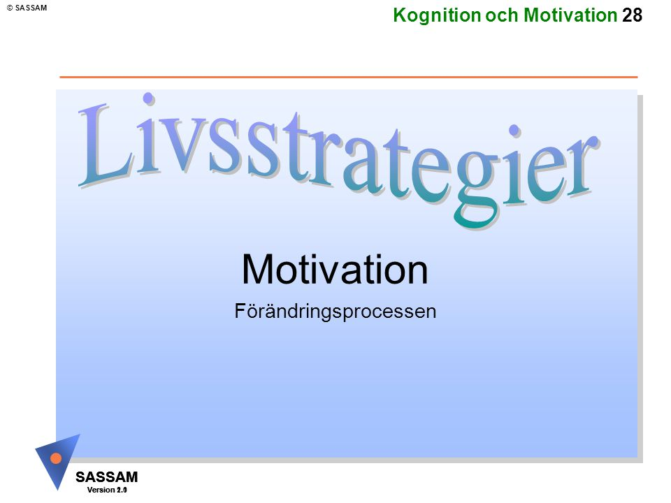 SASSAM Version 1.1 © SASSAM SASSAM Version 1.1 SASSAM Version 2.0 Kognition och Motivation 28 Motivation Förändringsprocessen