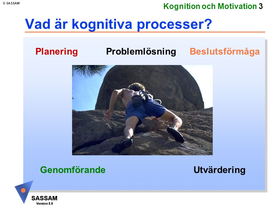 SASSAM Version 1.1 © SASSAM SASSAM Version 1.1 SASSAM Version 2.0 Kognition och Motivation 4 Kognition u Hjärnans uppbyggnad u Dynamisk utvecklingsteori i historiskt perspektiv u Nutida utvecklingsteori u Tankar, känslor, minnet u Neuropsykiatri u testning u undersökningar