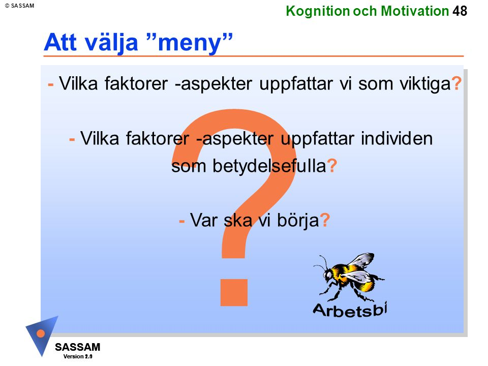 SASSAM Version 1.1 © SASSAM SASSAM Version 1.1 SASSAM Version 2.0 Kognition och Motivation 48 .