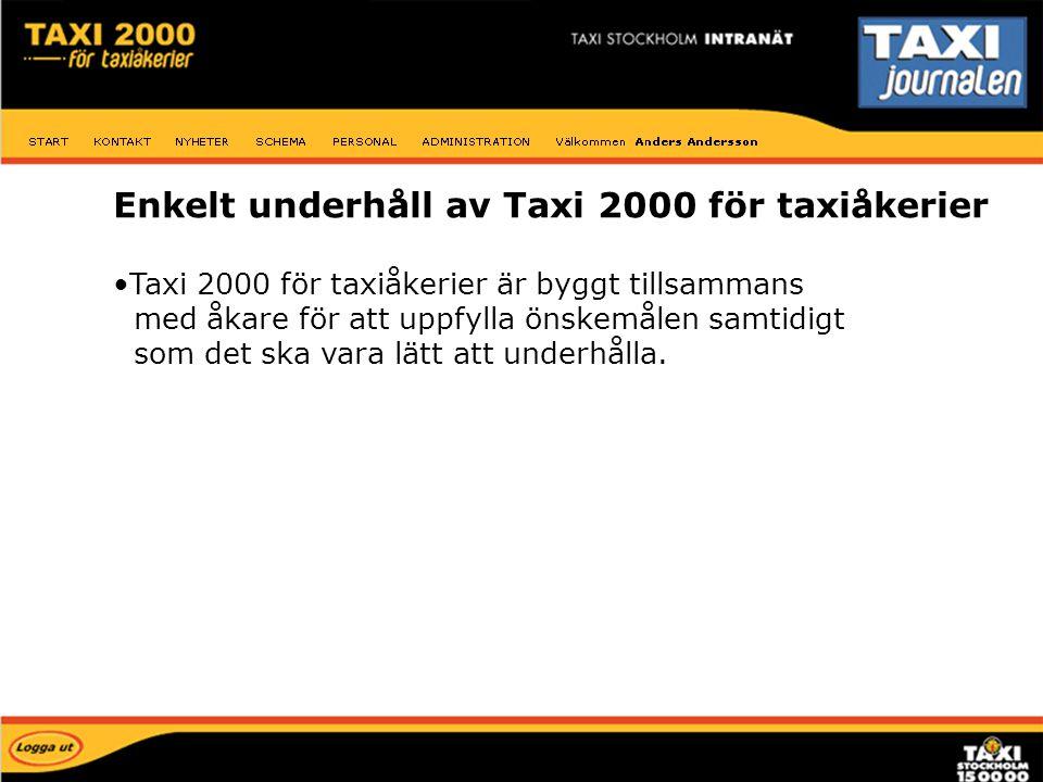 Enkelt underhåll av Taxi 2000 för taxiåkerier Taxi 2000 för taxiåkerier är byggt tillsammans med åkare för att uppfylla önskemålen samtidigt som det s