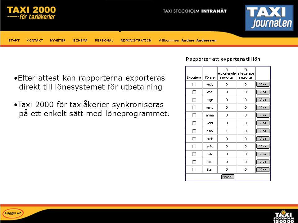 Efter attest kan rapporterna exporteras direkt till lönesystemet för utbetalning Taxi 2000 för taxiåkerier synkroniseras på ett enkelt sätt med lönepr