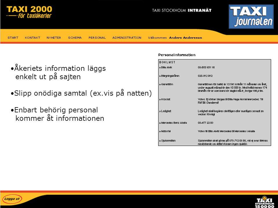 Åkeriets information läggs enkelt ut på sajten Slipp onödiga samtal (ex.vis på natten) Enbart behörig personal kommer åt informationen Personal inform