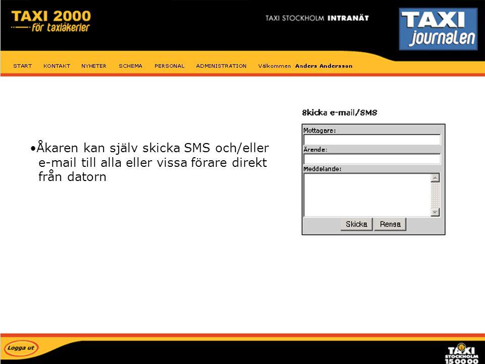 Åkaren kan själv skicka SMS och/eller e-mail till alla eller vissa förare direkt från datorn E-mail SMS