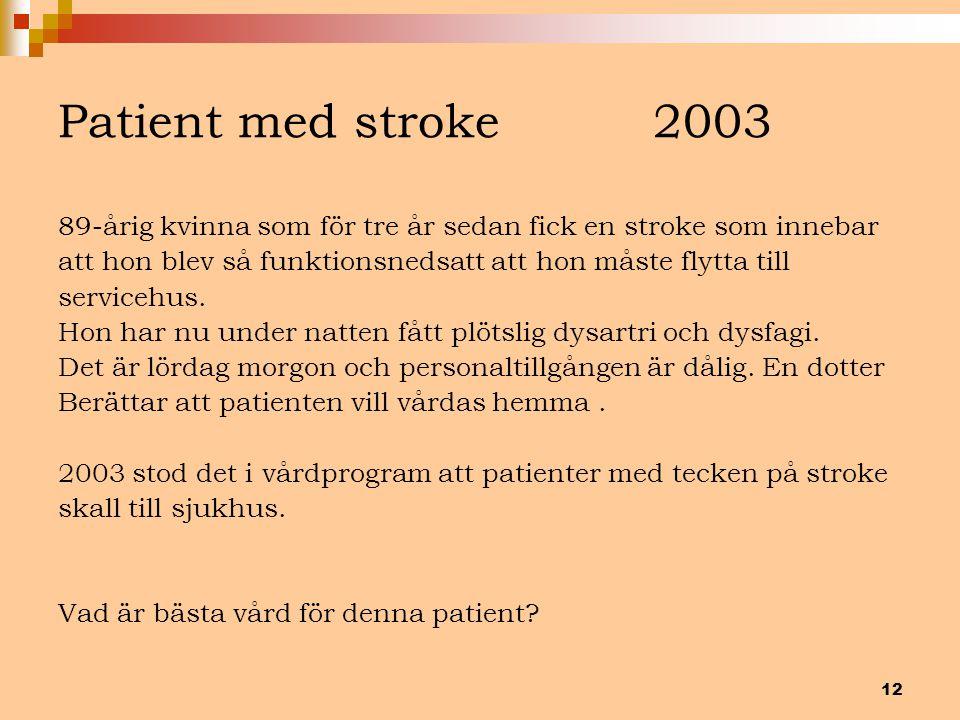12 Patient med stroke 2003 89-årig kvinna som för tre år sedan fick en stroke som innebar att hon blev så funktionsnedsatt att hon måste flytta till s