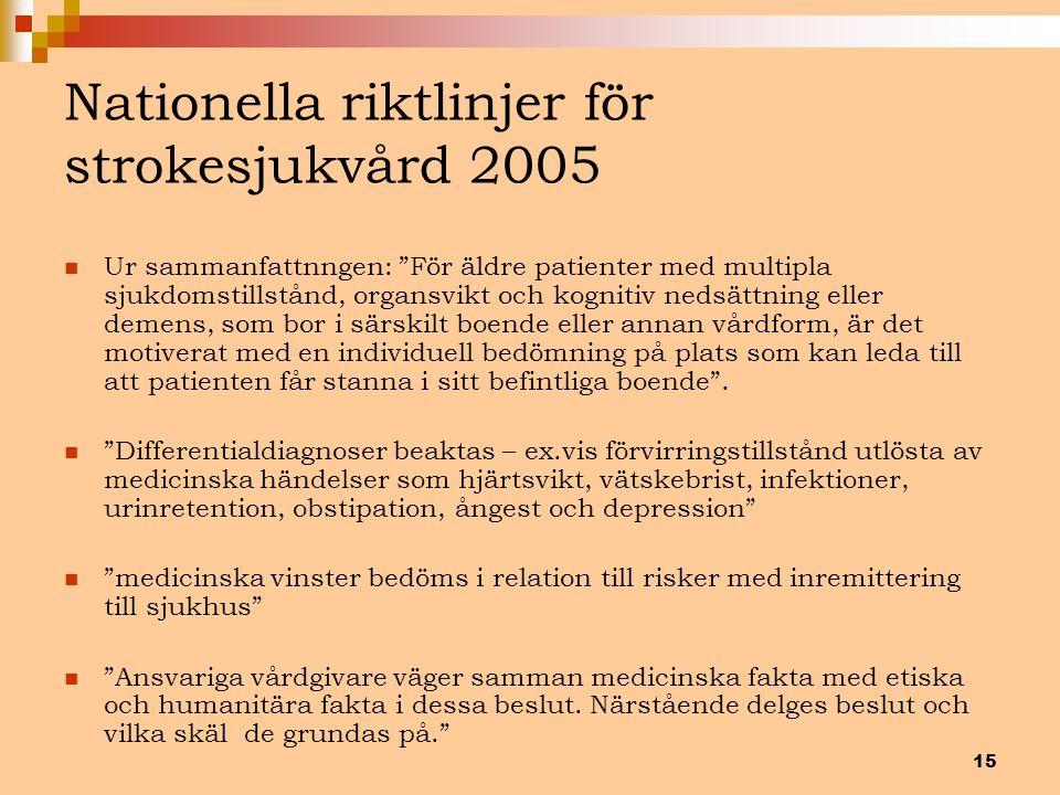 """15 Nationella riktlinjer för strokesjukvård 2005 Ur sammanfattnngen: """"För äldre patienter med multipla sjukdomstillstånd, organsvikt och kognitiv neds"""