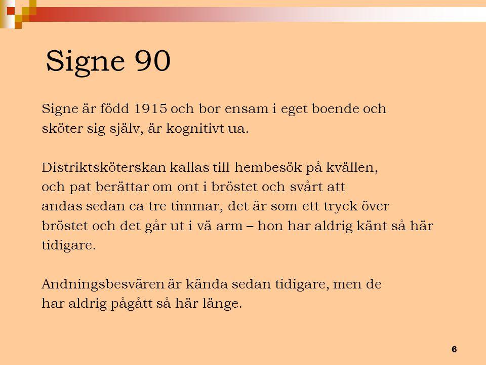 6 Signe 90 Signe är född 1915 och bor ensam i eget boende och sköter sig själv, är kognitivt ua. Distriktsköterskan kallas till hembesök på kvällen, o